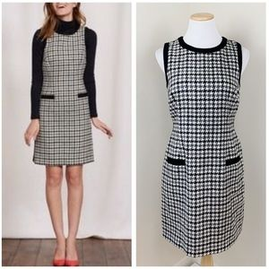 Boden British Tweed by MOON Wool Houndstooth Dress